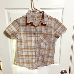 Plaid button-down shirt (S) Lovely for outdoors!